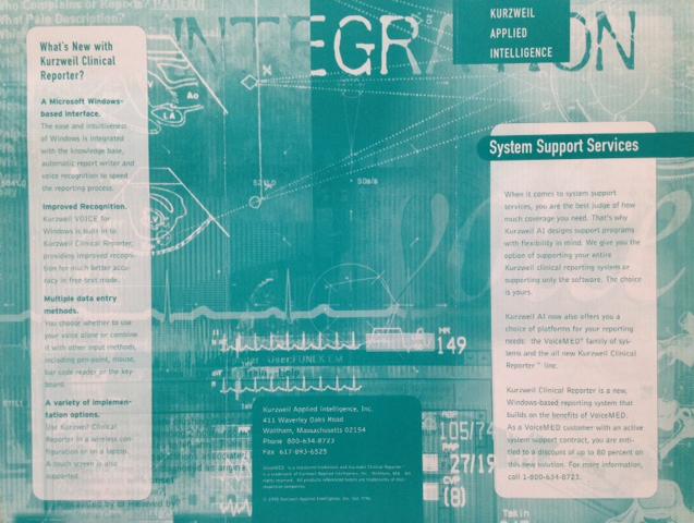 Kurzweil Applied Intelligence tri-fold