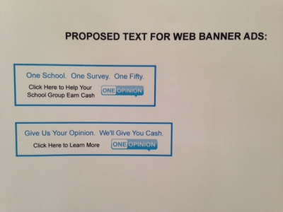 One Opinion proposed banner ads