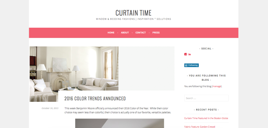 Curtain Time Blog