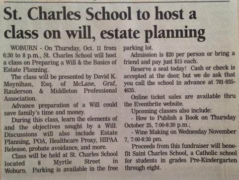 Saint Charles School fundraising